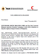 PERTUBUHAN AKITEK MALAYSIA (PAM) and the Red Crescent Malaysia launches Donation Campaign in joint effort initiatives to help the Typhoon Haiyan Victims in Philippines