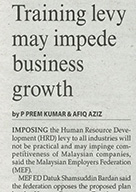 Training levy may impede business growth