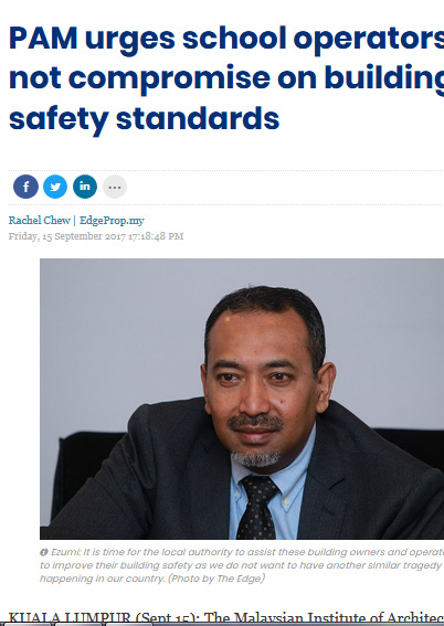 PAM urges school operators to not compromise on building safety standards